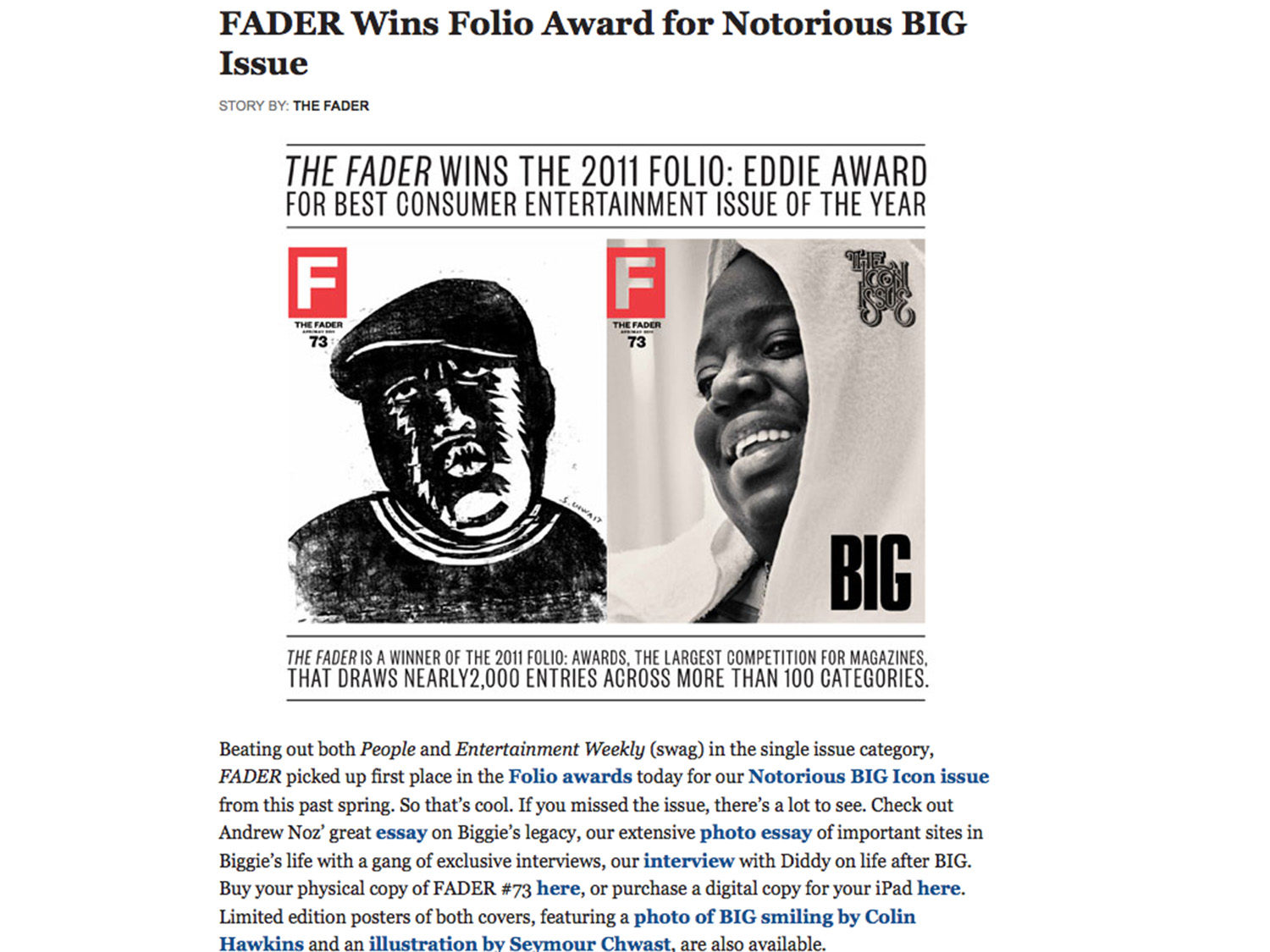 Fader biggie award